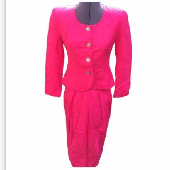 Vintage Christian Dior Suit & Skirt Hot Pink coral